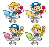 Repairman Character Phone orders are received at the front desk. Stock Photo