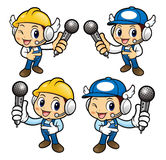 Repairman Character point a microphone. Stock Image