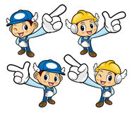 Repairman Character is points a finger one direction. Stock Photos