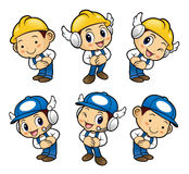 Repairman Character is a polite greeting. Royalty Free Stock Photography
