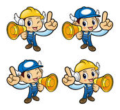 Repairman Character is spoken over a Microphone. Royalty Free Stock Photo