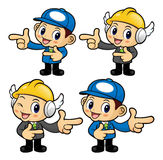 Repairman Character is taking gestures of Double pistols. Stock Image
