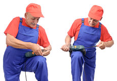 Repairman collage Stock Image