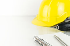 Repairman construction helment and screwdriver copy space Stock Image