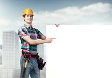 Repairman demonstrating banner Stock Photo