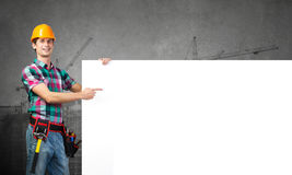 Repairman demonstrating banner Royalty Free Stock Images