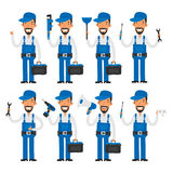 Repairman in different poses Royalty Free Stock Photography
