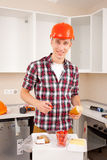 Repairman dines royalty free stock image