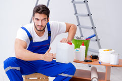 Free Repairman Doing Renovation Repair In The House With Paper Wallpa Royalty Free Stock Image - 98946716