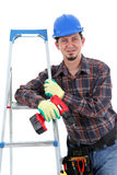 Repairman with drill, white background Stock Image