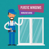 Repairman fabrykuje plastikowych okno ilustracji