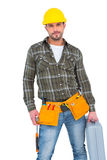 Repairman with hammer and toolbox Stock Images
