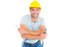 Repairman with hand tools on step ladder Royalty Free Stock Photos