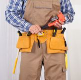 Repairman Holding Adjustable Wrench Royalty Free Stock Images