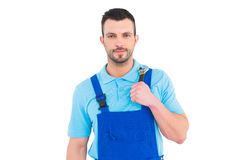 Repairman holding adjustable wrench Stock Image