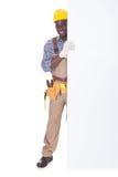 Repairman Holding Bill Board Royalty Free Stock Photo
