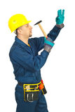 Repairman holding hammer Stock Images