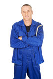 Repairman holding his wrench Royalty Free Stock Images