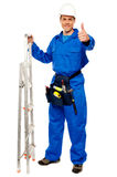 Repairman holding ladder and showing thumbs up. Gesture isolated on white Royalty Free Stock Photos