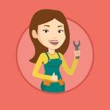 Repairman holding spanner vector illustration. Stock Image