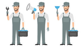 Repairman holding tools wrench megaphone plunger Stock Photos