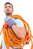 Repairman holding wire roll Royalty Free Stock Images
