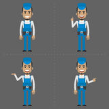 Repairman indicates in various poses Stock Images