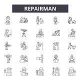 Repairman kreskowe ikony, znaki, wektoru set, liniowy pojęcie, kontur ilustracja royalty ilustracja