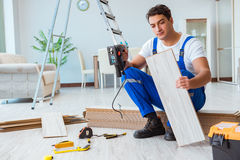 The repairman laying laminate flooring at home Stock Images