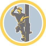 Repairman Looking Saluting Retro för maktlinjearbetaretelefon Royaltyfri Bild