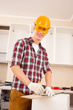 Repairman making markup stock photo