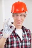 Repairman making a perfect gesture stock photo
