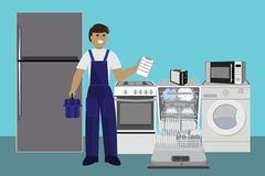 Repairman, master repairing dishwasher with screwdriver in kitchen. Vector illustration. Flat. stock illustration