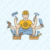 Repairman master with six hands icon logo vector illustration stock illustration