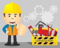 Repairman med den gula toolboxen och reparationsutrustning royaltyfri foto