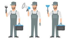 Repairman mienia narzędzi wyrwania megafonu nurek ilustracja wektor