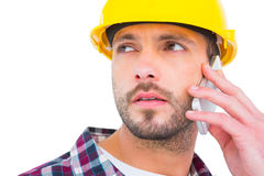 Repairman on the phone Royalty Free Stock Photos