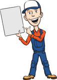 Repairman pointing at blank placard Royalty Free Stock Photos