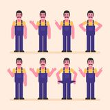 Repairman points and shows. Character set stock images