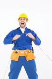 Repairman screaming while holding wires Stock Image