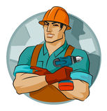 Repairman with screw gun Stock Photos