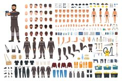 Repairman or serviceman creation kit. Bundle of male cartoon character body details, faces, gestures, clothes, working. Tools and equipment isolated on white vector illustration