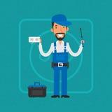 Repairman som reparerar elektrisk utrustning stock illustrationer