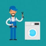 Repairman som reparerar hushållanordningar stock illustrationer