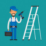 Repairman som står near trappa som rymmer den elektriska skruvmejseln royaltyfri illustrationer