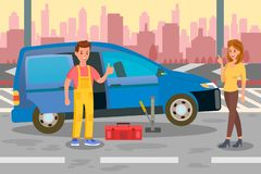 Repairman, Specialist Call Flat Color Illustration royalty free illustration