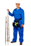 Repairman with a stepladder and tools bag. Standing against white background Stock Image