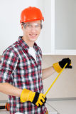 Repairman with a tape measure Royalty Free Stock Photos
