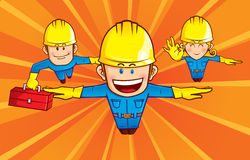 Repairman team. A team of repairman superhero, was seen flying  with sunburst background Stock Photography