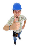 Repairman with thumbs up. Repairman with thumb up on the white background. Isolated on white royalty free stock photo